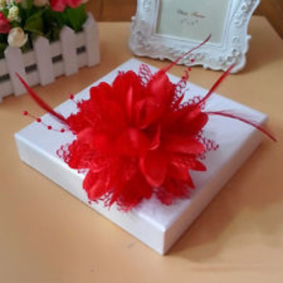 442af8f6 Creative Designs Accessories | Red Feather Beaded Sm Fascinator Head ...